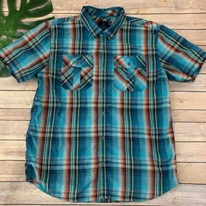 Prana men's blue and orange plaid button up shirt
